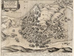 Plan de la bataille de Leucate entre Français et Espagnols en 1637