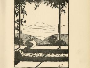 Frontispice de Montagne noire. Poèmes de Jean Lebrau réalisé par Marguerite Tiquet.