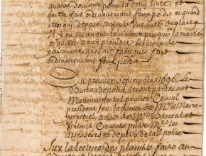 Registres du bureau de police de la maison consulaire de Narbonne, du 1er septembre 1696, sur une marchande de glace malhonnête 3/4
