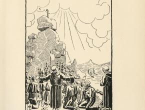 Frontispice de Le Porteur du rouleau des morts Joseph Fortunat Strowski réalisé par Germaine Caussignac