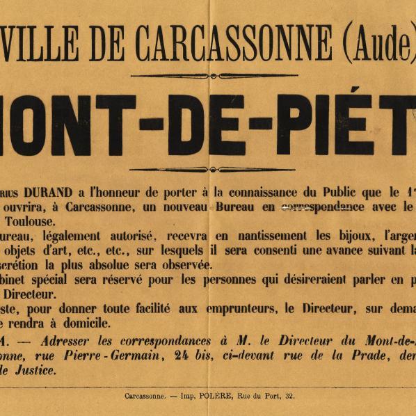 Affiche qui annonce l'ouverture du  Mont-de-Piété de Carcassonne en 1894