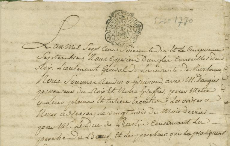 15J5 procédure contre les pêcheurs de Gruissan pour infractions à l'interdiction de la pêche aux bœufs (procès-verbaux de saisie et de destruction des bateaux et du matériel de pêche, enquêtes  , 1769-1771