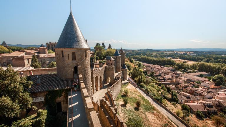 Vue sur la plaine depuis la Cité de Carcassonne