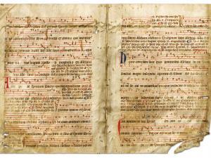Manuscrits religieux avec notations musicales (graduels, antiphonaires,…).- Fragments (parchemins, papier) utilisés comme couvertures d'actes notariés.XIVe-XVIIIe s. 3J1037_001