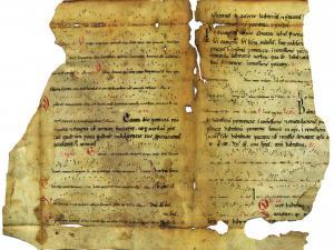 Manuscrit musical.- Office du temps de l'Avent.XIIe s. 1 p. parchemin. Trouvé au cours d'un tri : couverture d'un registre de notaire, 19843J865_001