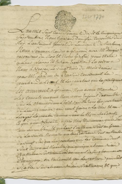 15 J 5 procédure contre les pêcheurs de Gruissan pour infractions à l'interdiction de la pêche aux bœufs (procès-verbaux de saisie et de destruction des bateaux et du matériel de pêche, enquêtes  , 1769-1771)