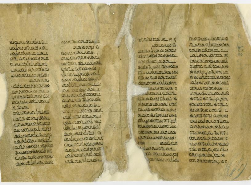 Fragment – sur parchemin, provenant de l'enquête au sujet de la construction du moulin de Gougens  – d'un manuscrit hébreu, reproduisant une partie de la loi mosaïque sur la lèpre, extrait du Lévitique, chap. XIII, vers. 25 à 54 (1306).
